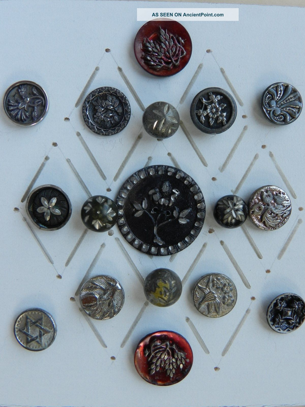 17 Antique / Vintage White Metal Buttons Some With Tint Buttons photo