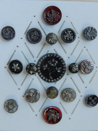 17 Antique / Vintage White Metal Buttons Some With Tint photo
