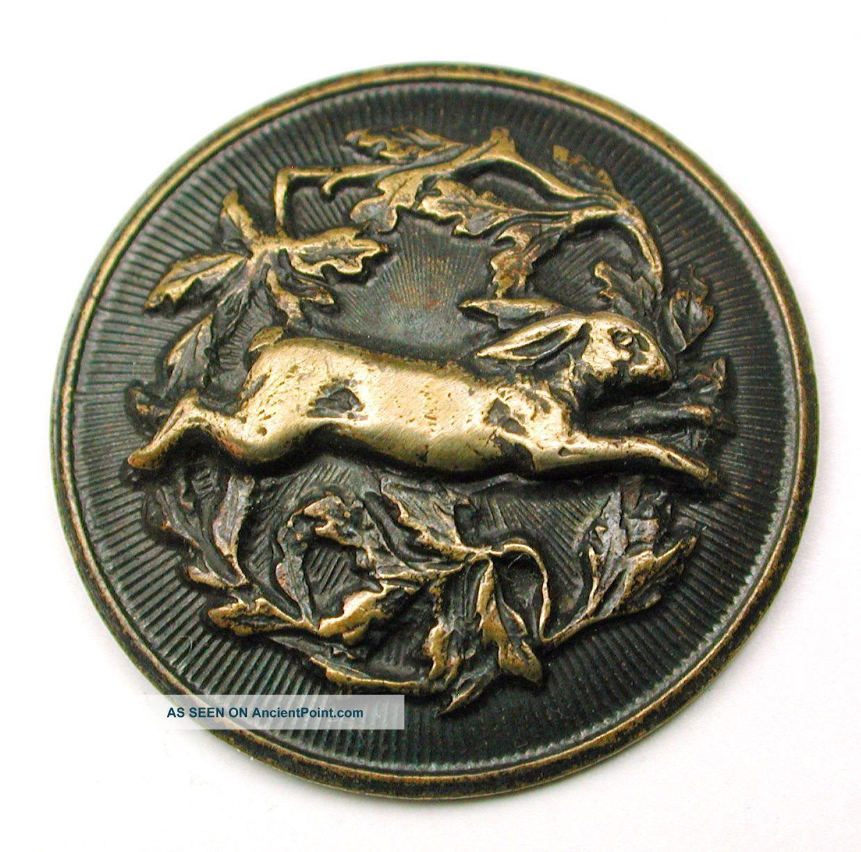Antique Tinted Brass Button Running Rabbit & Oak Leaves Design - 1