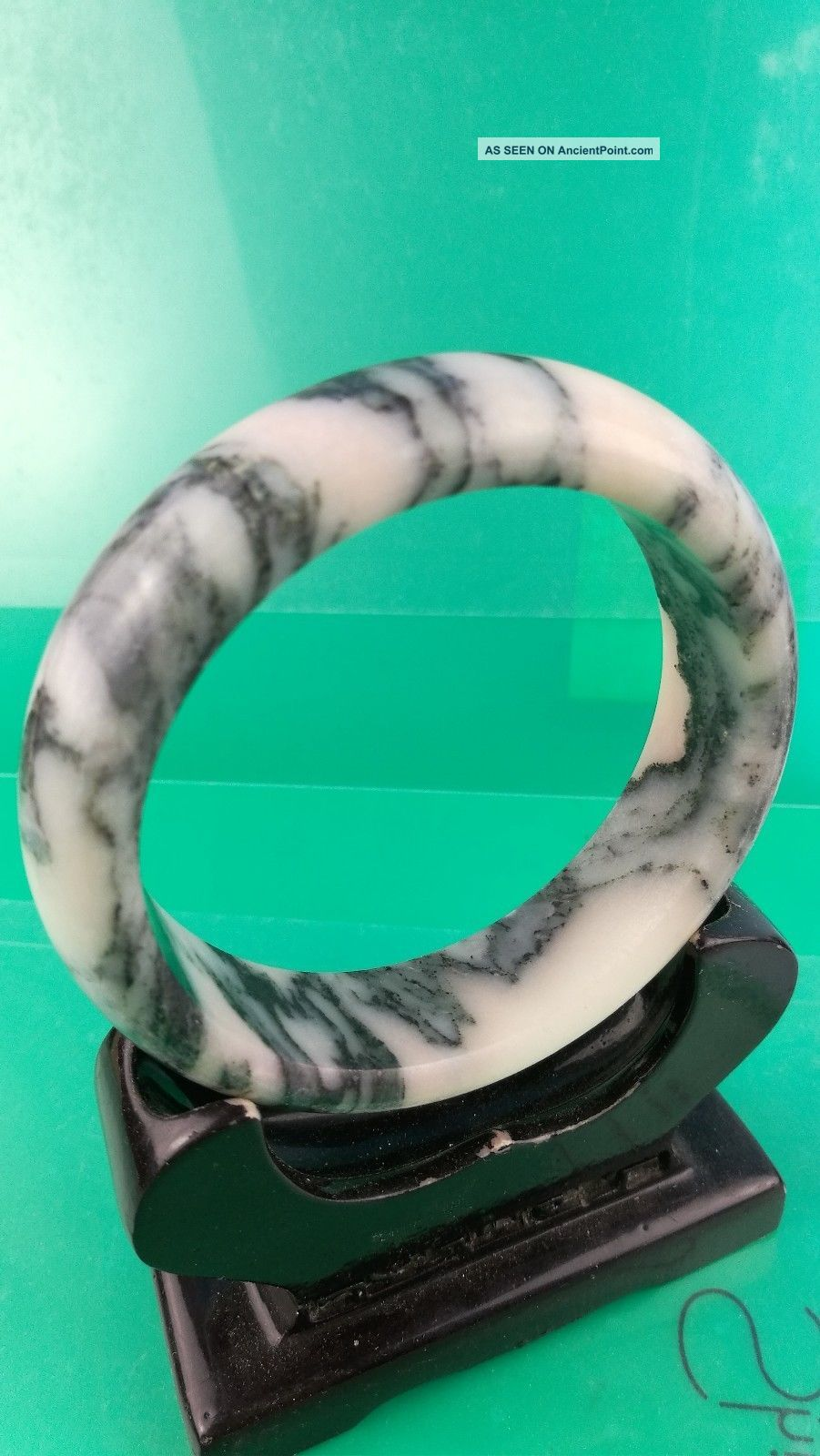 Chinese Natural Jade Hand - Carved Jades Bracelets Bangle 61 Mm Diameter A15 Bracelets photo