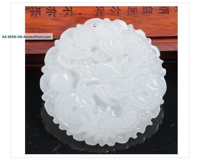 Exquisite Chinese Handwork White Jade Carvings Dragon Pendant Necklaces & Pendants photo