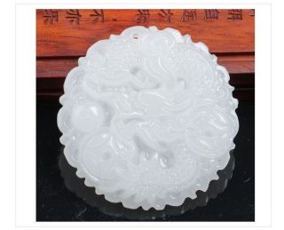 Exquisite Chinese Handwork White Jade Carvings Dragon Pendant photo