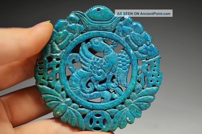 Unusual Chinese Lapis Lazuli Hollow Out Phoenix Amulet Pendant Da5 Other Chinese Antiques photo
