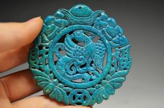 Unusual Chinese Lapis Lazuli Hollow Out Phoenix Amulet Pendant Da5 photo