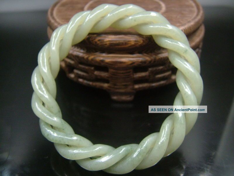 Antique Old Chinese Nephrite Celadon Jade 3 - Twisted Silk Bracelet Bracelets photo