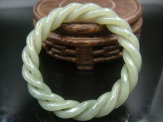 Antique Old Chinese Nephrite Celadon Jade 3 - Twisted Silk Bracelet photo