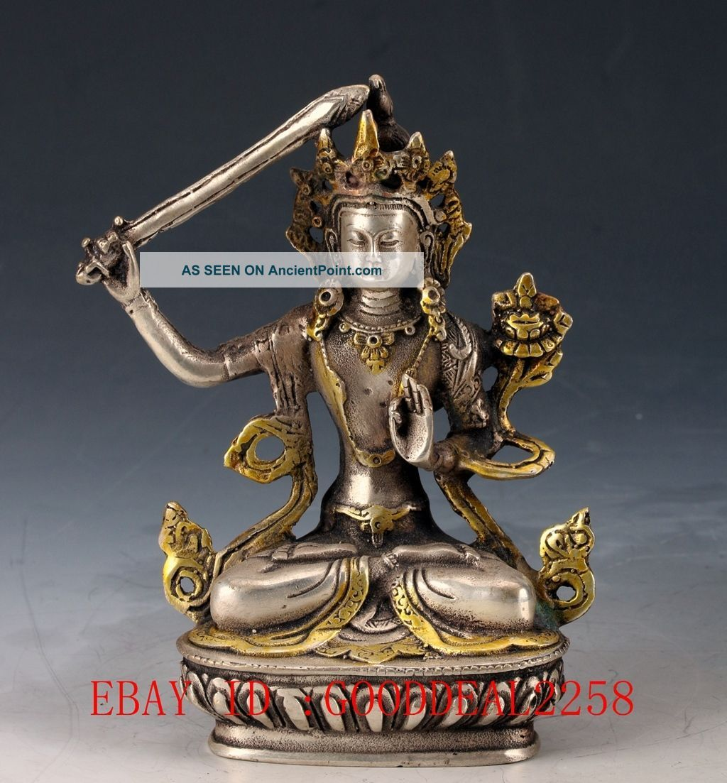 Chinese Silver Copper Gilt Tibetan Buddhist Statue - Manjusri Bodhisattva Fx07 Figurines & Statues photo