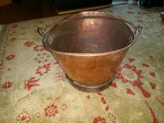 Vintage Early Hand Crafted Copper Bucket/pail For Coal Or Ashes Iron Handle photo