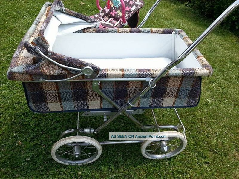 Vintage Rare Bilt Rite Baby Stroller & Pram,  Brown/blue/cream Plaid,  Great Con Baby Carriages & Buggies photo