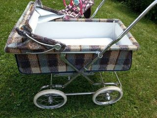 Vintage Rare Bilt Rite Baby Stroller & Pram,  Brown/blue/cream Plaid,  Great Con photo