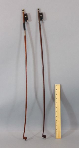 2 Antique Silver Mounted Violin Bows,  1 Pernambuco Wood, photo
