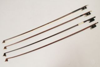 Vintage 20c Group 4 Violin Bows Or Restoration Incl Glasser photo