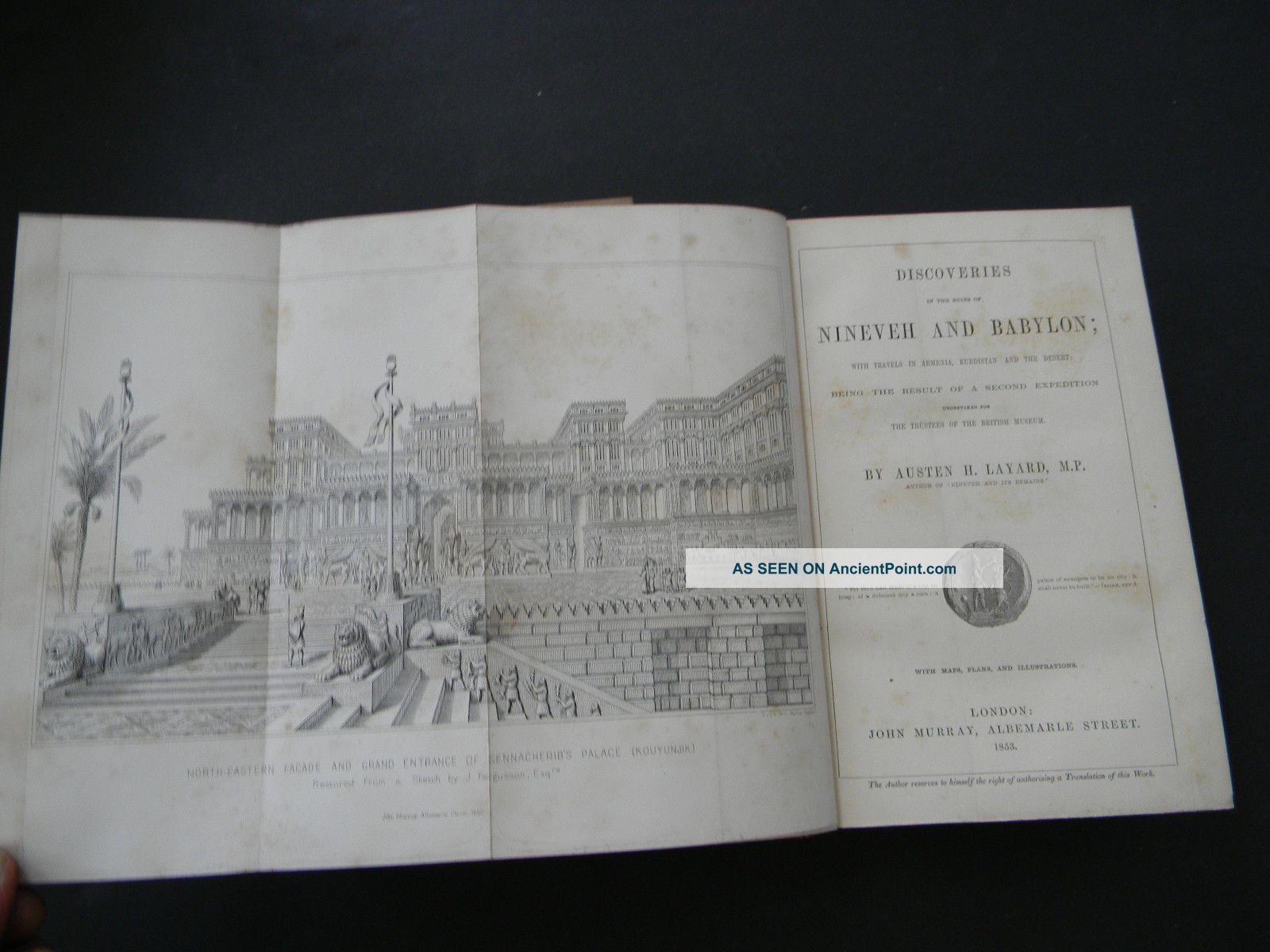 Discoveries In The Ruins Of Nineveh And Babylon By Austen H.  Layard - 1853 Holy Land photo