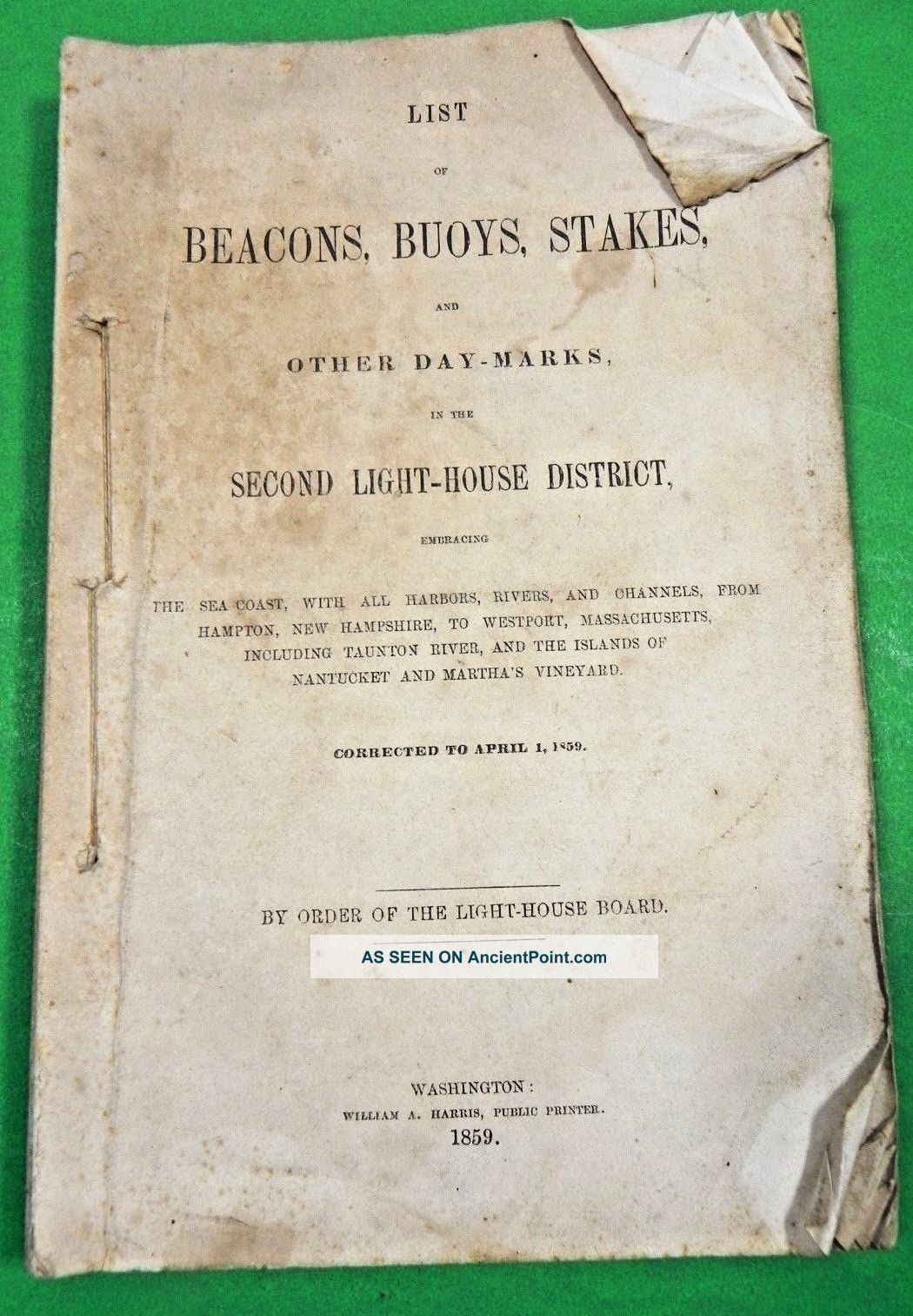 1859 Booklet Lists Buoys,  Beacons & Stakes From Hampton,  Nh,  To Westport,  Ma Other Maritime Antiques photo