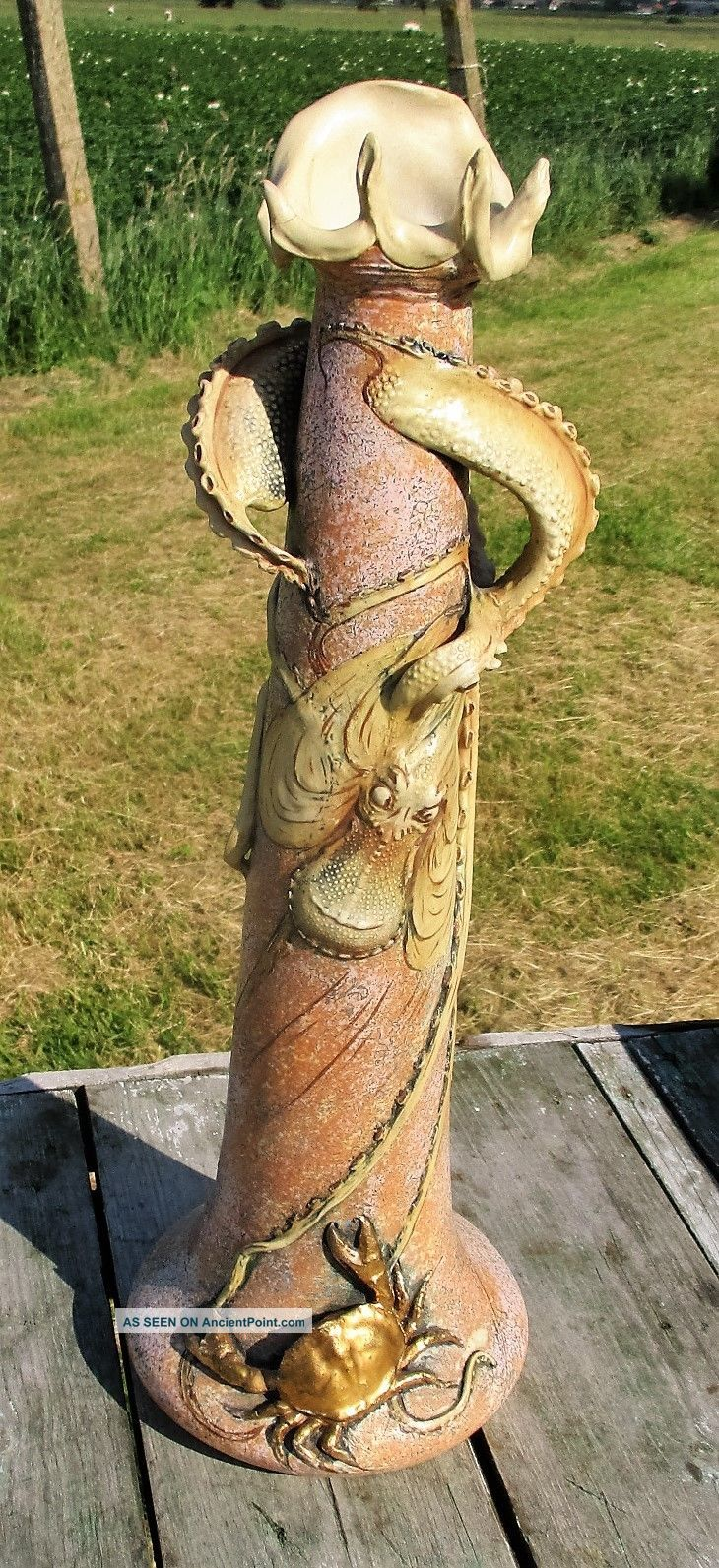 Antique Art Nouveau Ceramic Bohemian Amphora Octopus Vase Eduard Stellmacher Art Nouveau photo