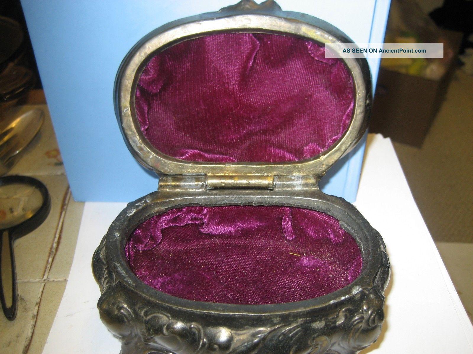 Antique Metal Victorian Style Velvet Lined Trinketcasket Coffin