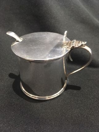 Sterling Silver Mustard Pot With Spoon,  Vintage,  Antique, photo