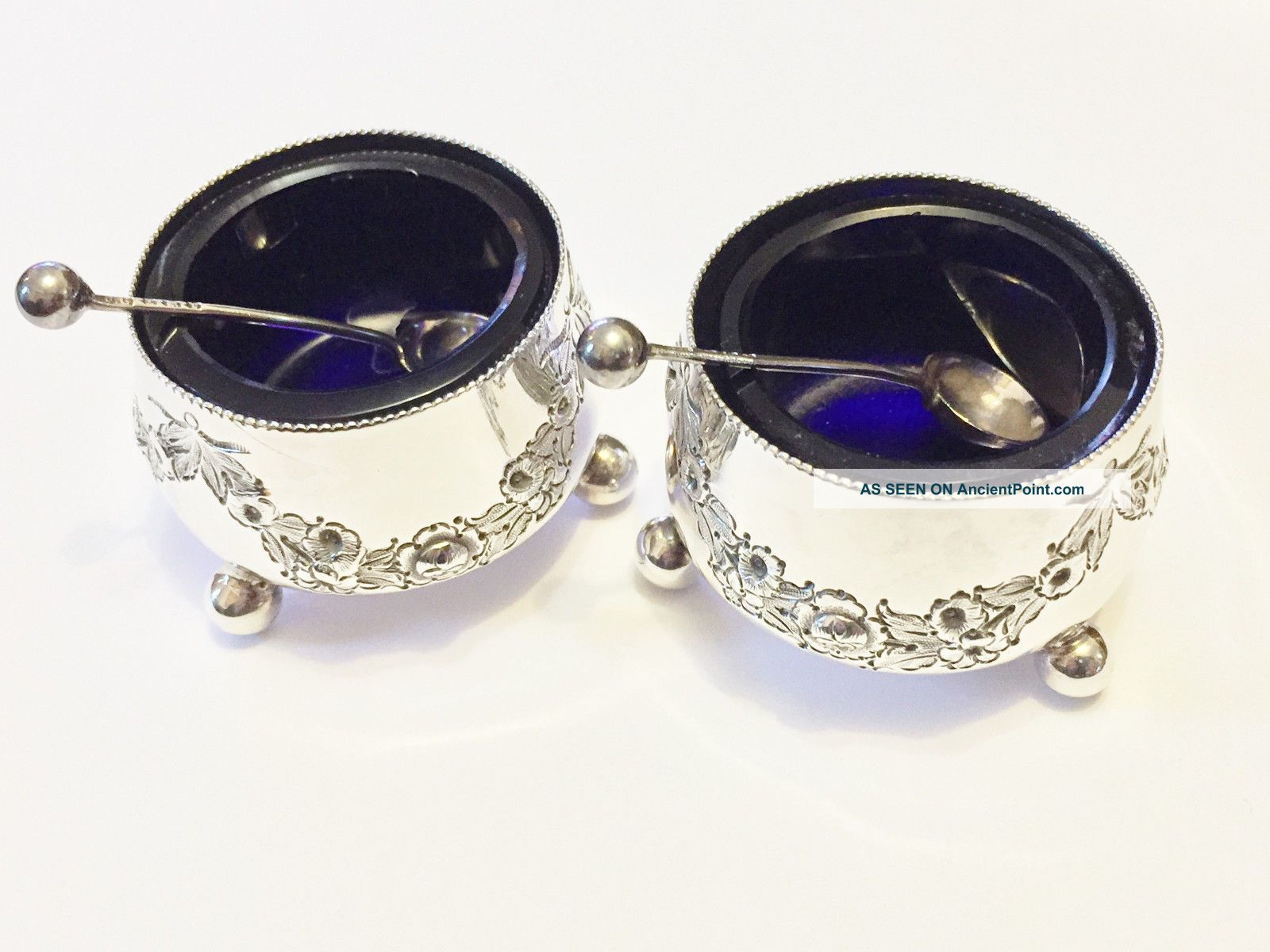 Solid Silver Salts & Spoons - Wiliam Hutton & Sons - London - 1880 Sterling Silver (.925) photo