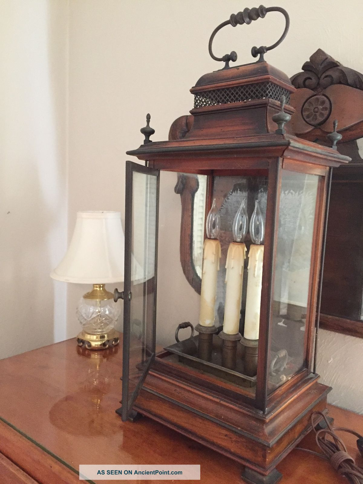 Antique Electric Wood/ Glass Flicker 3 Candle Light Mantle Lamp Italy Lamps photo