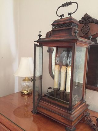 Antique Electric Wood/ Glass Flicker 3 Candle Light Mantle Lamp Italy photo