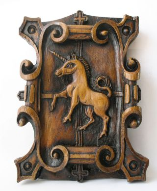 Unicorn Medieval Plaque Reproduction Carving Gothic Mythical Magic Historic Gift photo