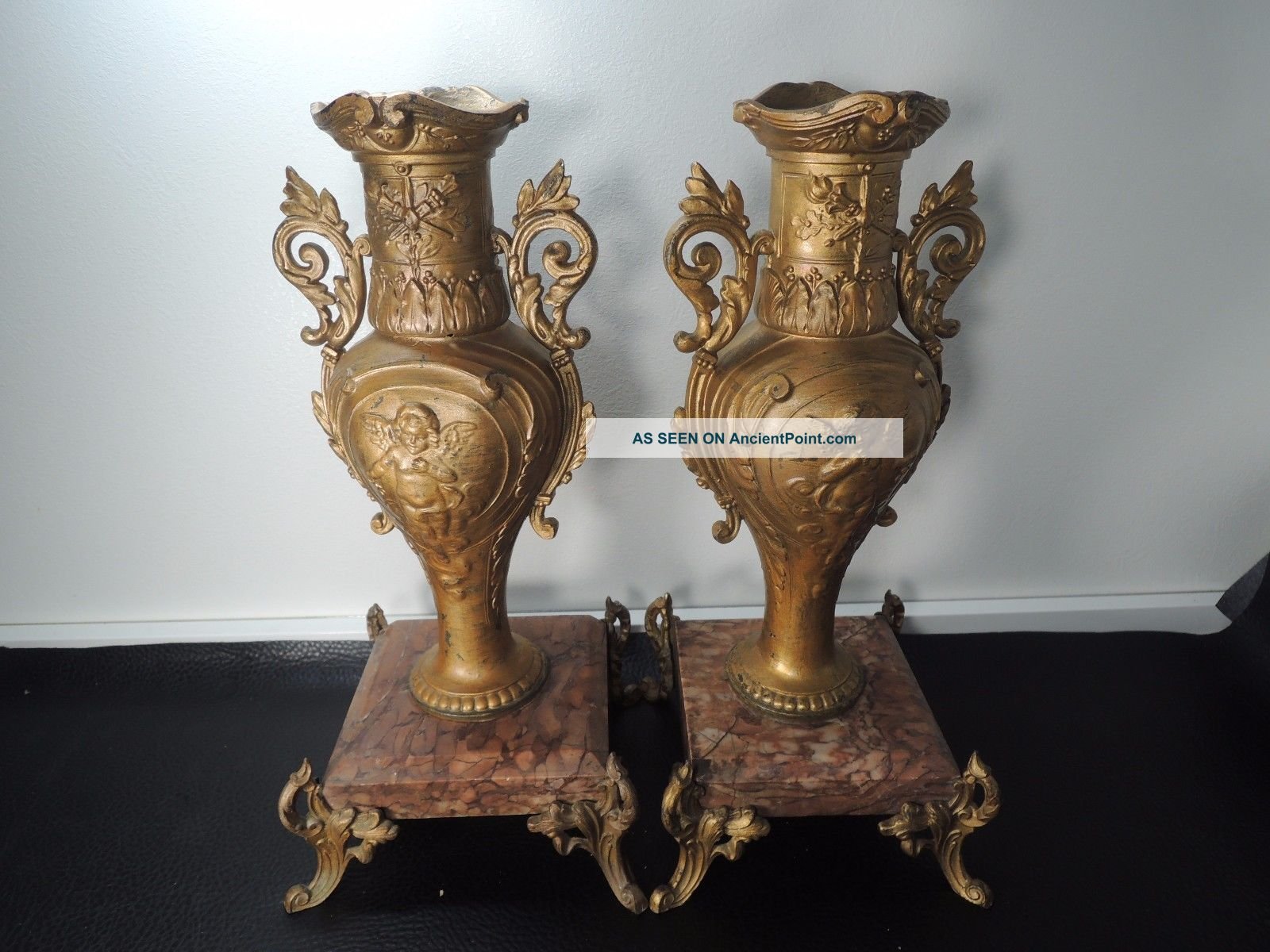 19c.  Pair French Bronzed Spelter & Marble Base Table Urns Mantel Vases Metalware photo
