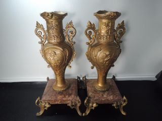 19c.  Pair French Bronzed Spelter & Marble Base Table Urns Mantel Vases photo