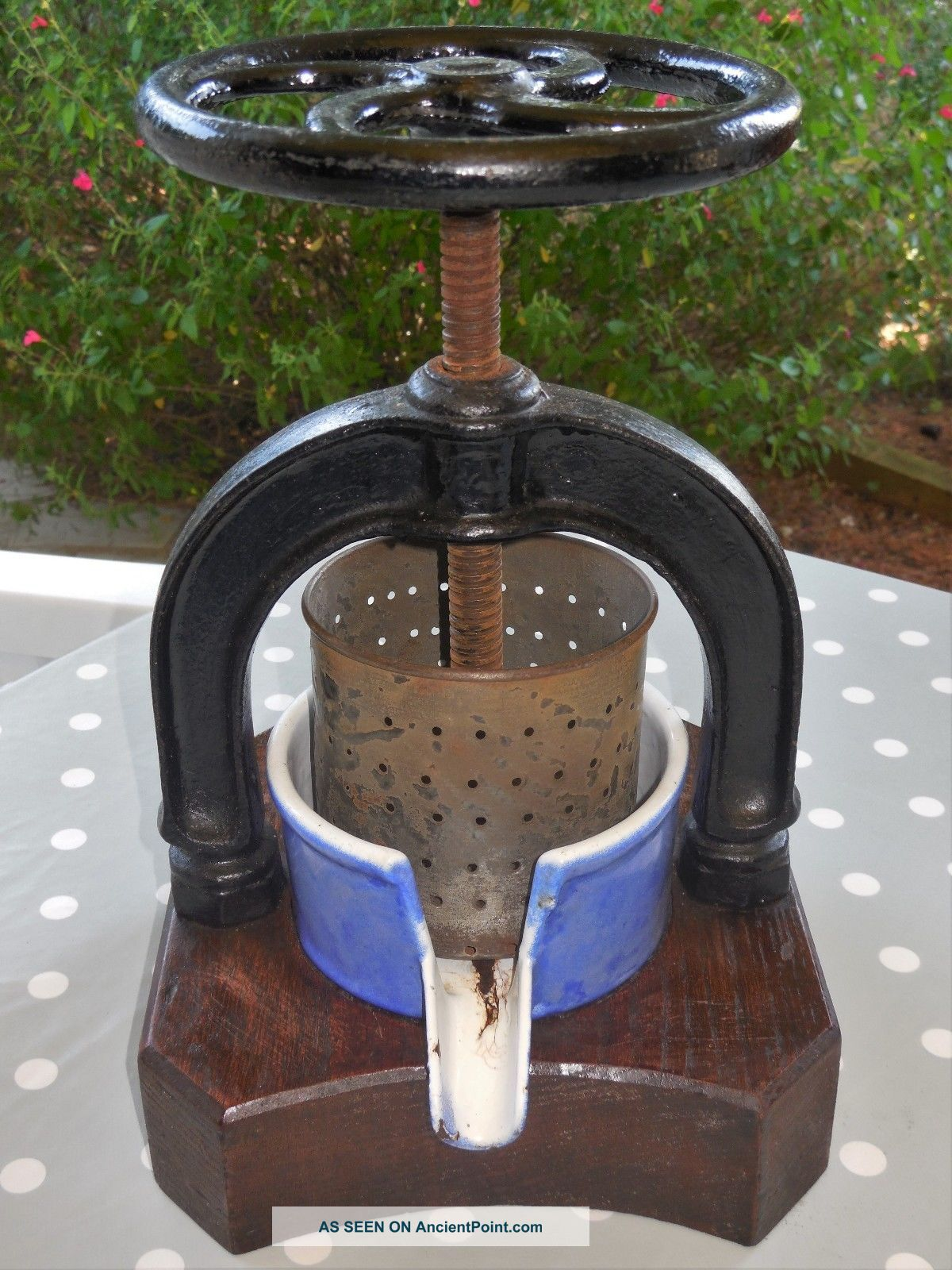 French Antique Fruit Press / Juicer With Rare Oak Base - Enamel Cast Iron Other Antique Home & Hearth photo