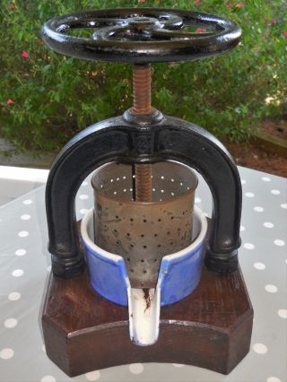 French Antique Fruit Press / Juicer With Rare Oak Base - Enamel Cast Iron photo