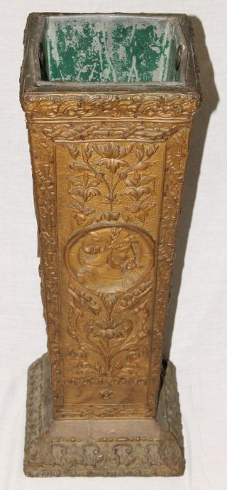Victorian Brass - Wrapped Umbrella Stand Holder,  Wood Frame,  C.  1880 ' S photo