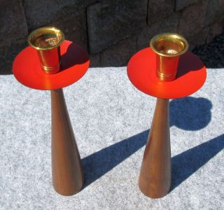 Vintage Mid Century Danish Modern Eames Era Teak Candle Holders Candlesticks photo