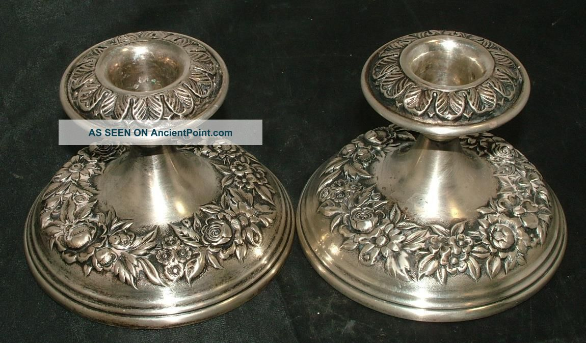 S.  Kirk & Son Stieff Sterling Silver Repousse Candlestick Candle Holders Candlesticks & Candelabra photo