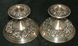 S.  Kirk & Son Stieff Sterling Silver Repousse Candlestick Candle Holders photo