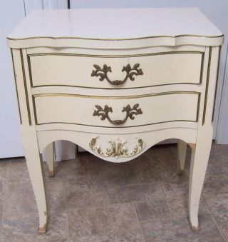Vntg French Provincial Hollywood Regency Chic Cream Gold Night Stand 2 Drawer photo
