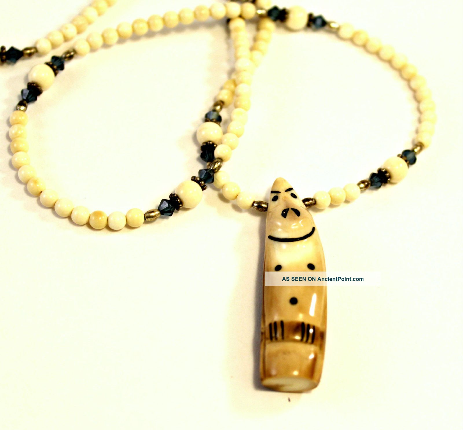 Alaskan Eskimo Billiken Totemic Mammoth Ivory Swarovski Crystals Beads Necklace Native American photo