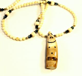 Alaskan Eskimo Billiken Totemic Mammoth Ivory Swarovski Crystals Beads Necklace photo