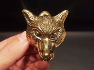 Antique Vintage Style Small Solid Brass Fox Door Knocker Hardware photo