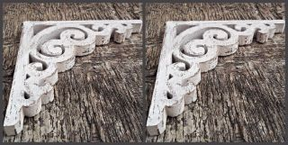 Victorian Wooden Shabby Chic Corbel Farmhouse Decor Wood Bracket 1 X Pair photo