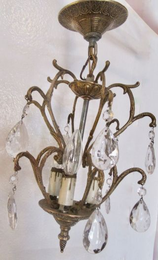 Vtg 1930s Cast Brass Chandelier Crystal Ceiling Light Fixture Spanish photo