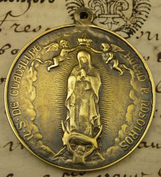 Antique Coronation Our Lady Of Guadalupe Mexico Basilica Bronze Medal photo