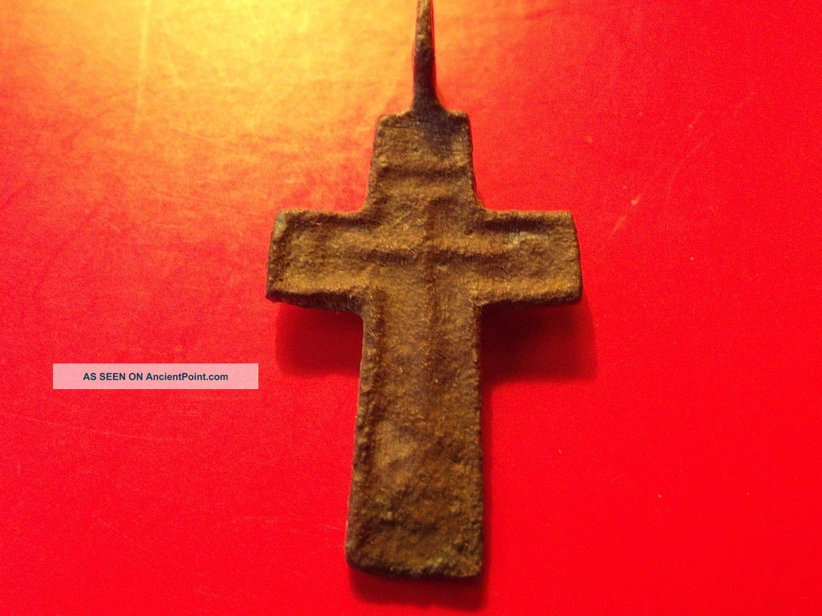 Antique Byzantine 15 - 16 Th Orthodox Calvary Cross Bronze Pendant Kiev Byzantine photo