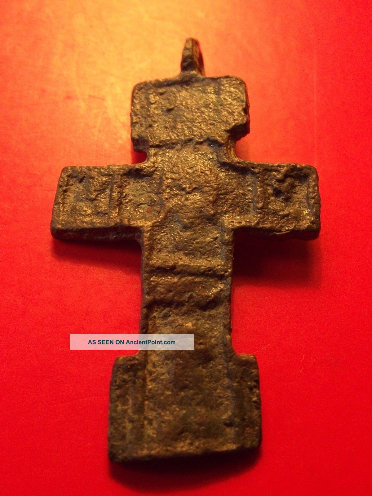 Antique Byzantine Orthodox Calvary Cross Bronze Pendant Tverj 15 - 16 Th Byzantine photo