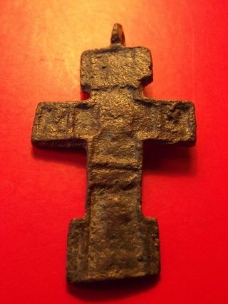 Antique Byzantine Orthodox Calvary Cross Bronze Pendant Tverj 15 - 16 Th photo