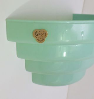 Vintage Vianne France Jadeite Green Art Deco Wall Sconce Old Stock photo
