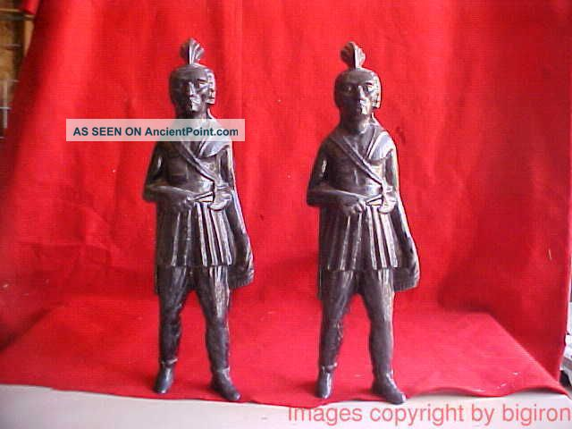 Circa 1870 - 90 Pair Iron Native American Indian Andirons & Fire Dogs Hearth Ware photo