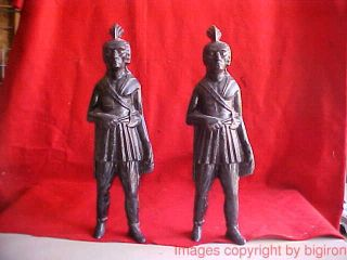 Circa 1870 - 90 Pair Iron Native American Indian Andirons & Fire Dogs photo