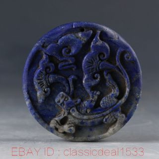 100 Natural Lapis Lazuli Handwork Carved Dragon & Ruyi Pendant Pa0789 photo