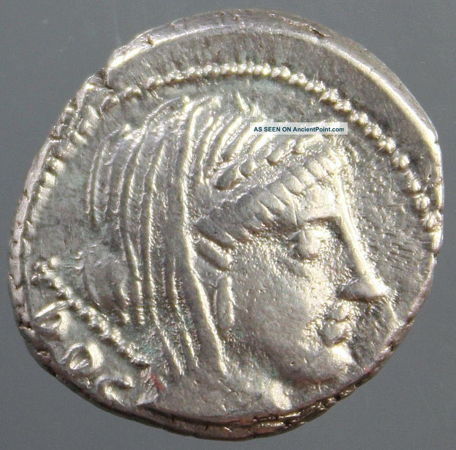 L.  Rubrius Dossenus,  Silver Denarius,  Veiled Juno,  Triumphal Chariot,  87 Bc Roman photo