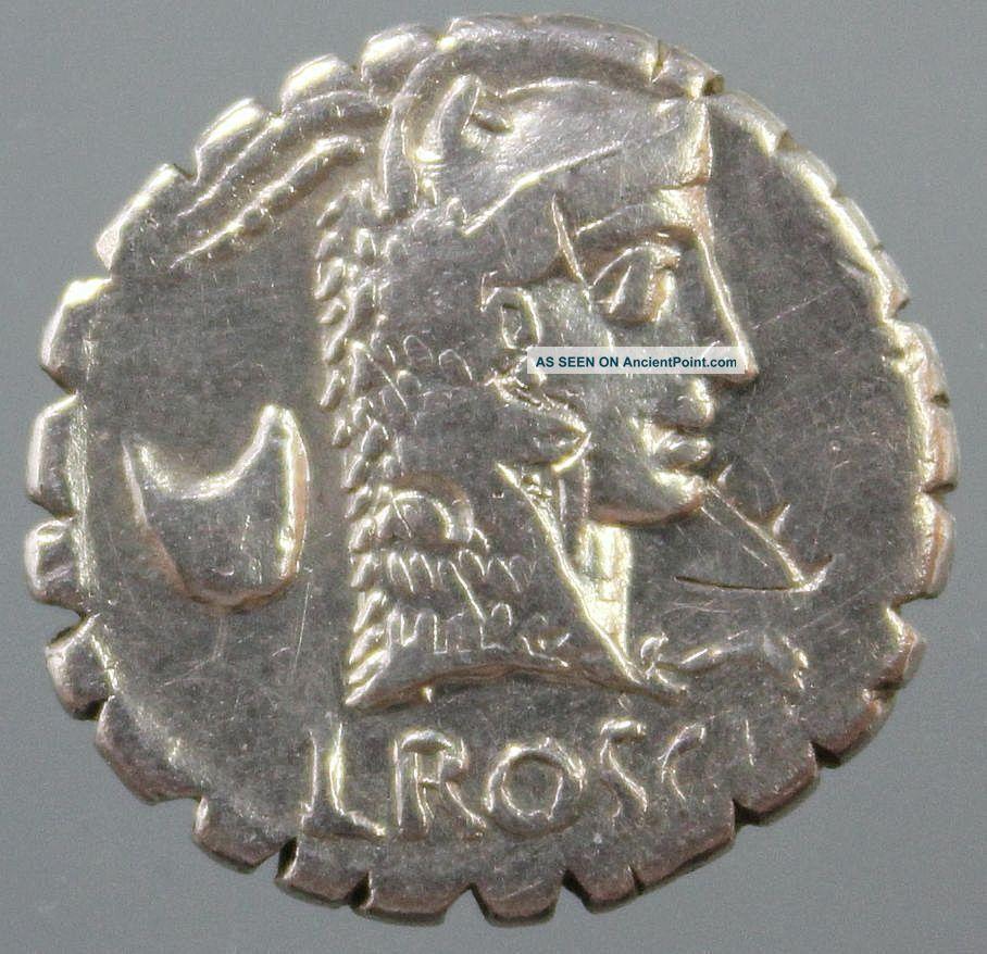L.  Roscius Fabatus,  Silver Denarius Serratus,  Juno Sospita,  Serpent,  Rome,  59 Bc Roman photo
