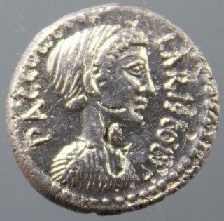 P.  Accoleius Lariscolus,  Silver Denarius,  Diana,  Triple Cult Statue,  Ca.  43 Bc photo